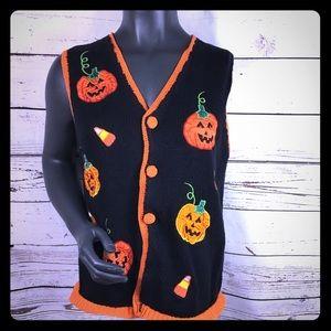 Halloween Black Knit Vest with Pumpkin Appliqué